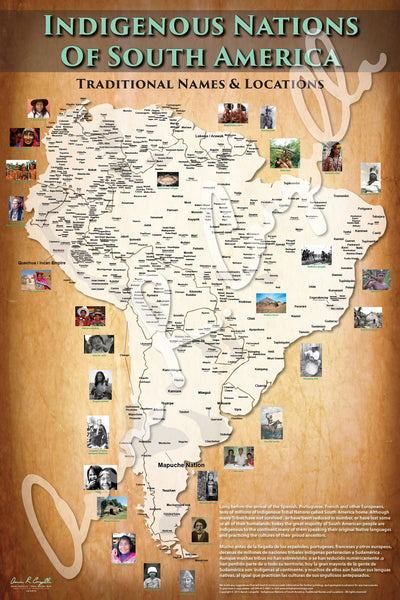 South America - Indigenous Nations of South America Map - Native Names Only