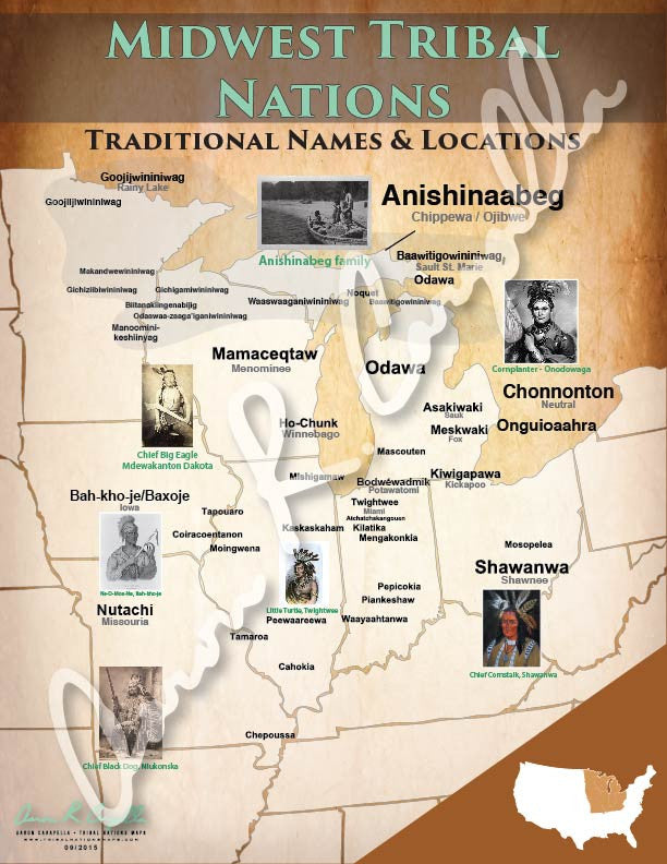 United States  Midwest Tribal Nations Map  North American Book