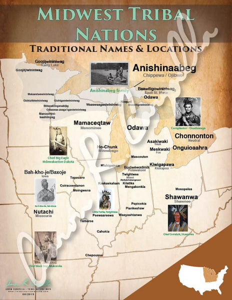 United States - Midwest Tribal Nations Map