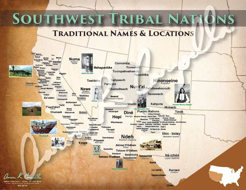 United States Southwest Tribal Nations Map North American Book - Us southwest map