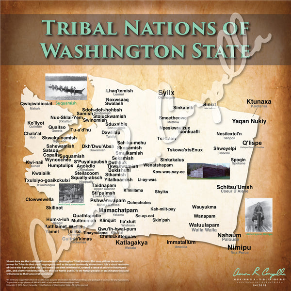 United States - Tribal Nations of Washington State Map