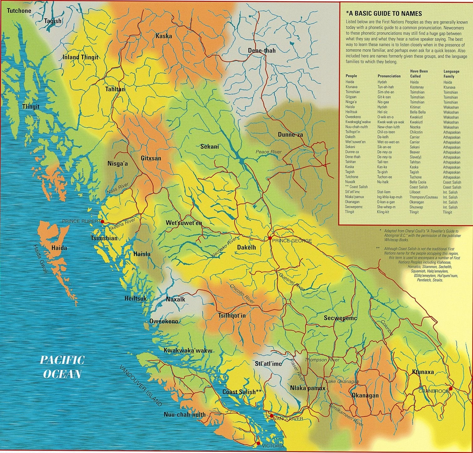 Canada First Nations Peoples of British Columbia Map North