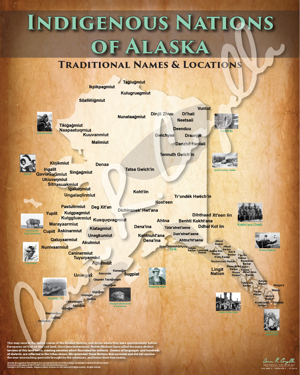 Alaska - Indigenous Nations of Alaska Map - Native Names Only