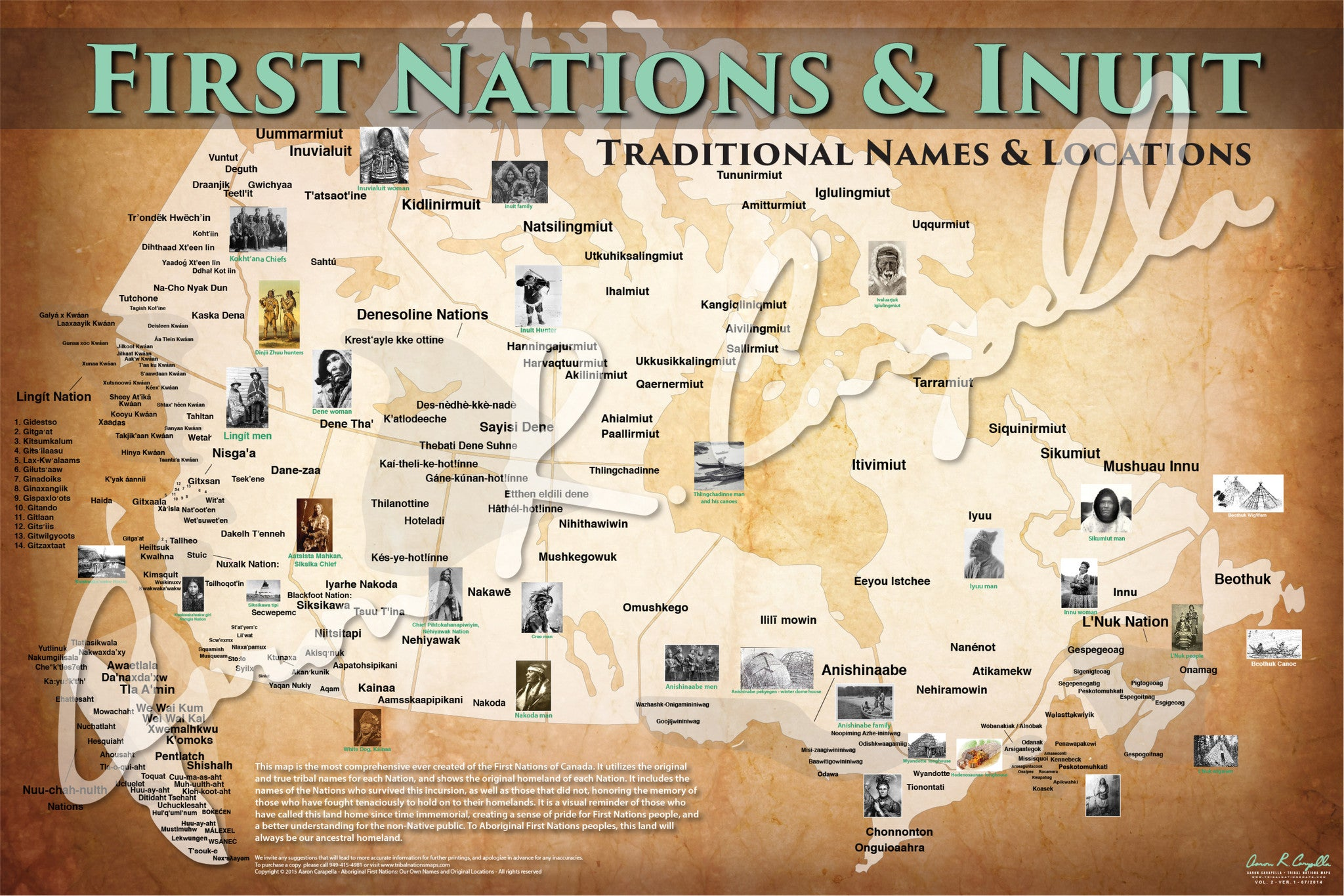 Canada First Nations and Inuit Map Native Names Only North