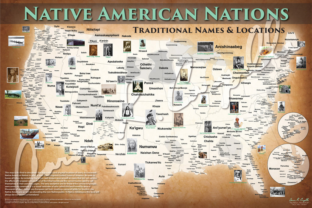 United States Native American Nations Map Native Names Only