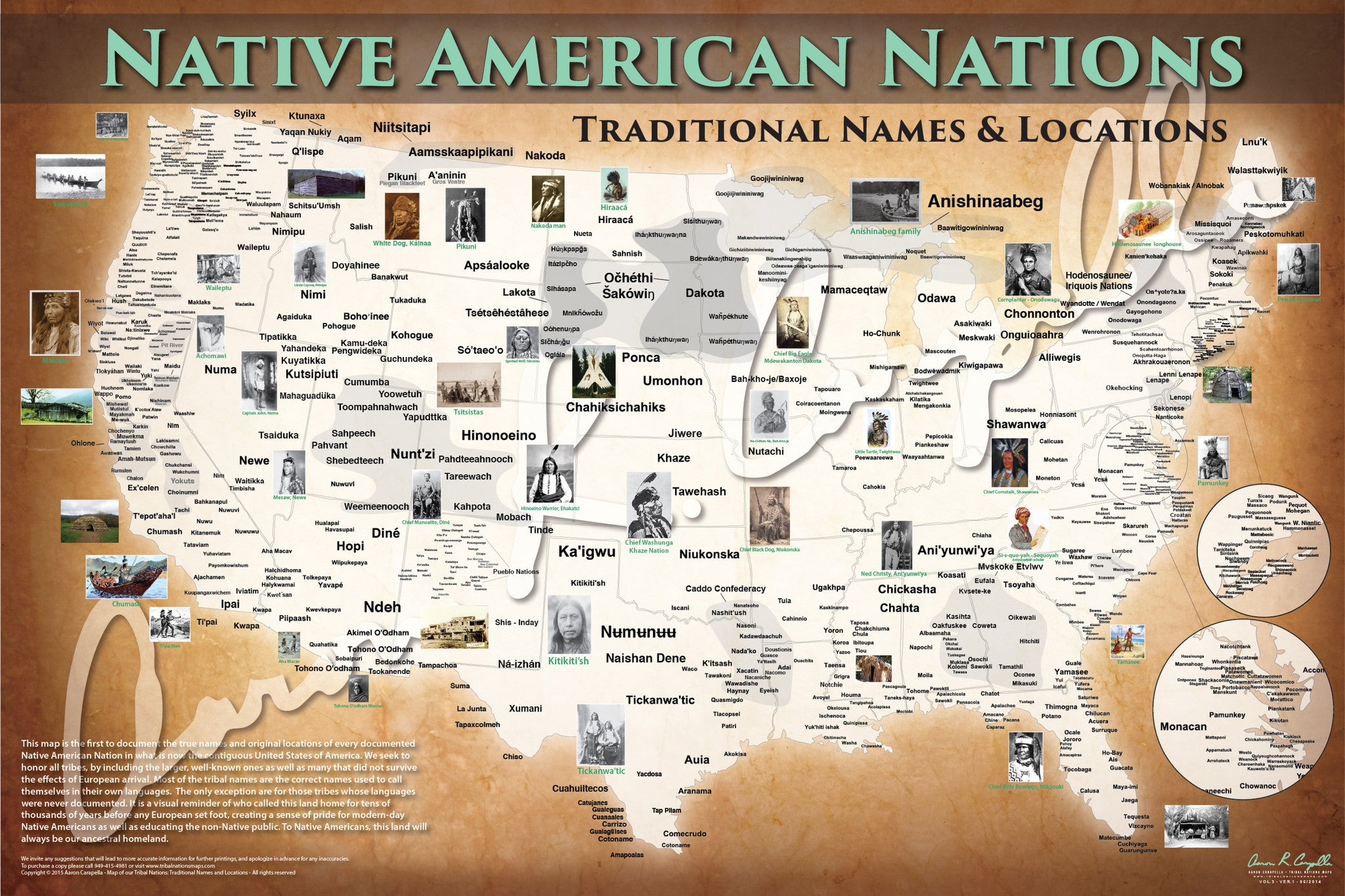 United States Native American Nations Map Native Names Only - Us map states only