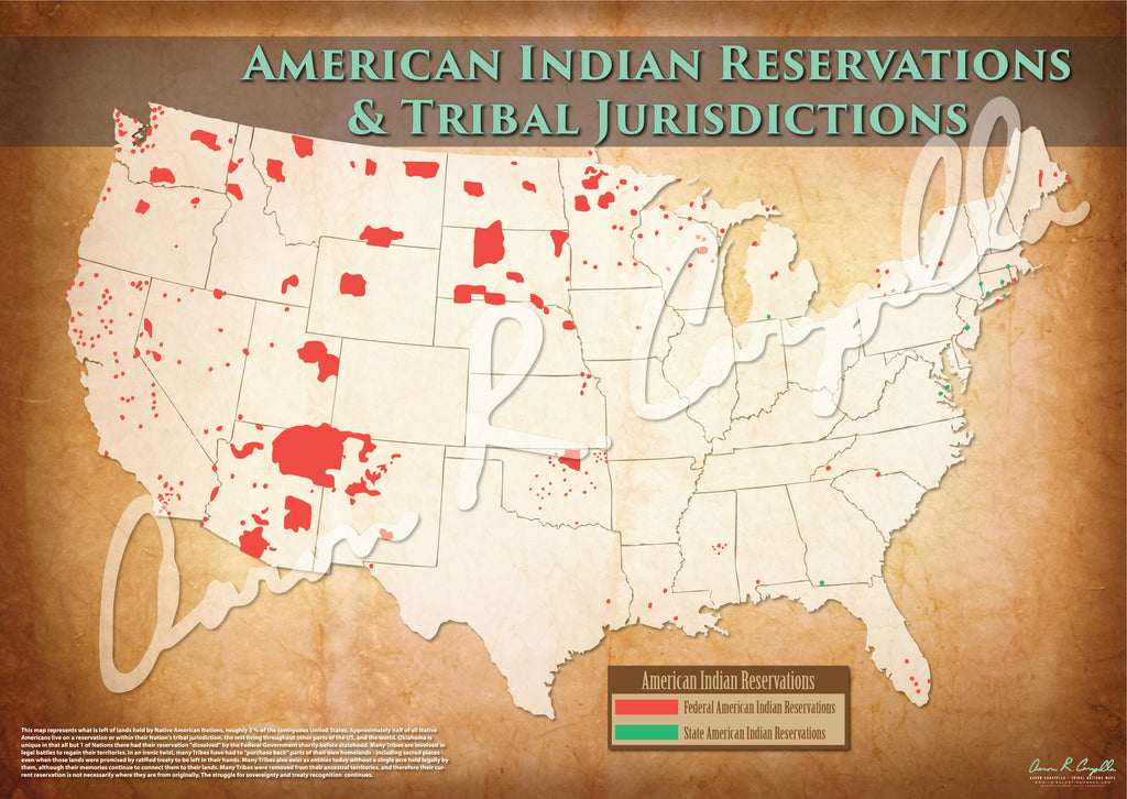 United States - American Indian Reservations Map