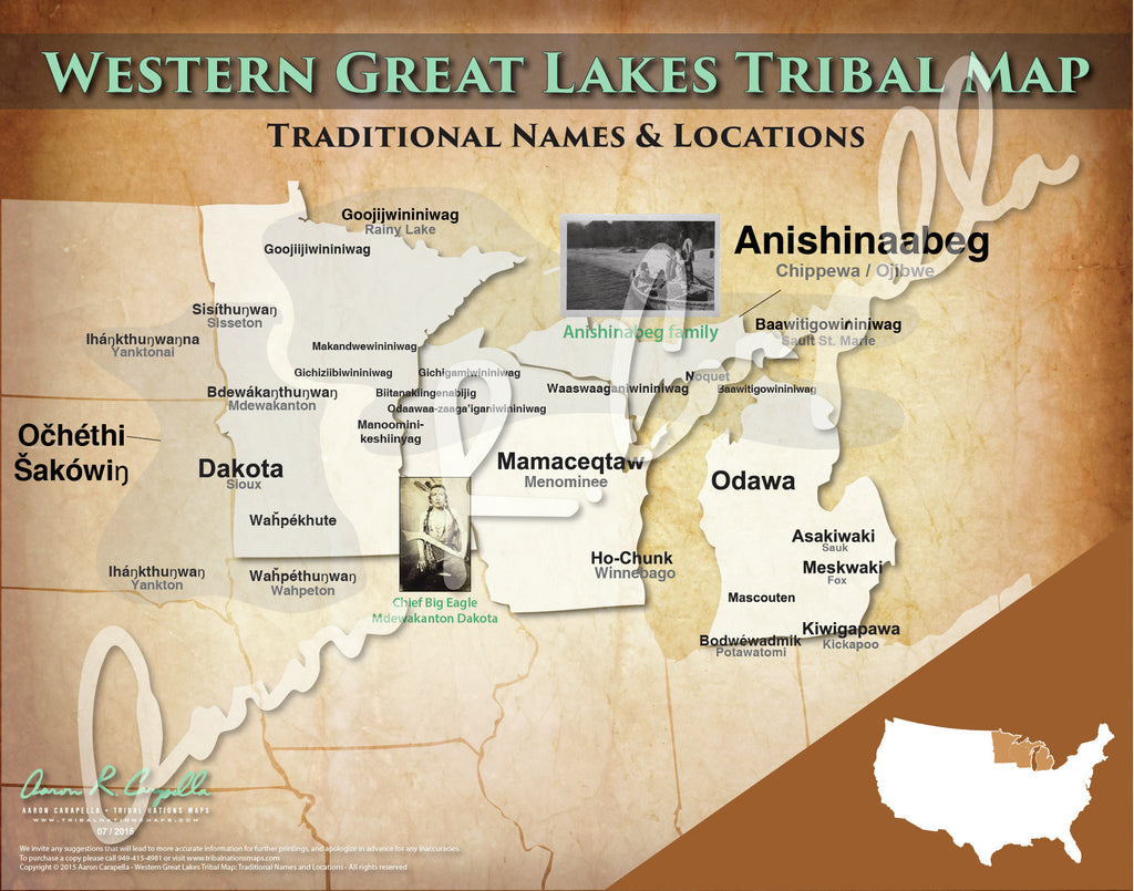 United States Western Great Lakes Tribal Map North American - Us map with great lakes