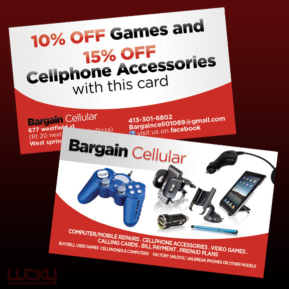 Cell phone accessories and electronics store flyer. A nice clean design for a cell accessory and computer repair store. Some product shots on one side, and a clear offer on the other concisely communicated our client's message.