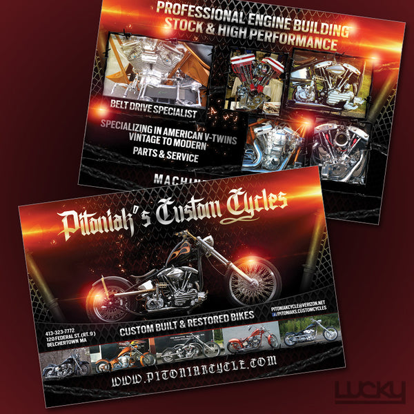 Custom Cycle Flyer Design. Our designers used some images of motorcycles, along with the chain link textures and some flares to create a dynamic design with a gritty edge. All the text was given a chrome shine for the finishing touches.