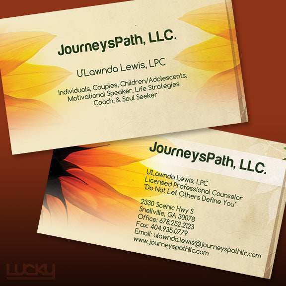 Design portfolio lucky design media life coach business card this business card was designed to have a more earthy natural colourmoves