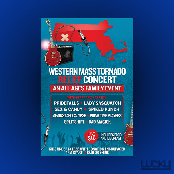 Tornado Relief Benefit Flyer Design. We donated this design and print for this flyer advertising a concert to benefit the tornado recovery efforts right in our backyard of Western Massachusetts.