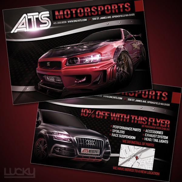 ATS Motorsports Flyer Design. Simple but still powerful design for ATS Motorsports. It's the details that set apart our graphic design from the competition. Notice the bolts in the swoosh under the title?