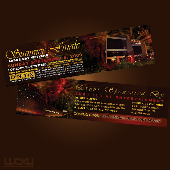 Nightclub Flyer. We designed this uniquely sized flyer to promote an event at the posh Onyx nightclub, located near the Basketball Hall of fame (pictured on the bottom). The sparks and red glowing make this design really come alive.