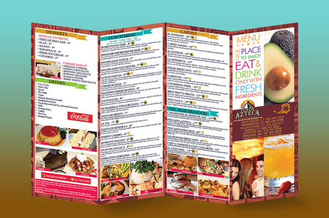 Mexican Food menu 11x17 accordian fold brochure printing