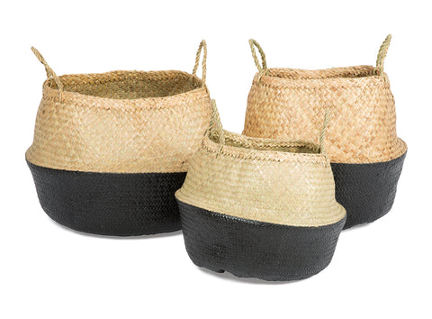 Seagrass belly baskets dipped in colour perfect for home storage | The Corner Booth