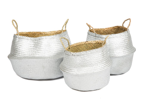 Great storage ideas for around the home, seagrass belly baskets