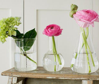 Erlenmeyer Flasks as vases at The Corner Booth
