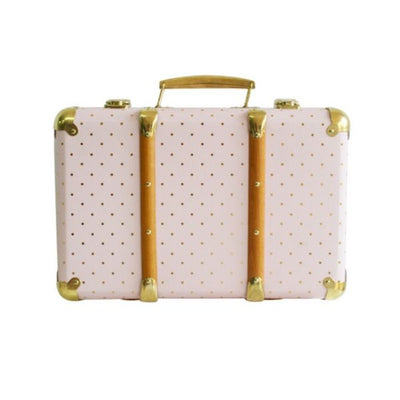 Alimrose Vintage Style Carry Case in Pink and Gold Spot