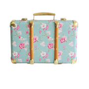 Alimrose Vintage Style Carry Case in Aqua Cottage Rose