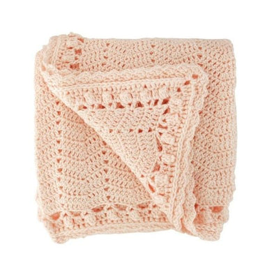 OB Designs Crochet Blanket in Peach