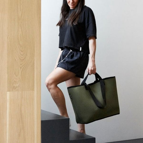 Lady Carrying Neoprene Tote Bag