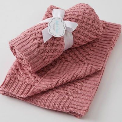Baby Blanket Basket Weave Blush