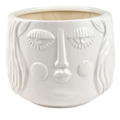 White Ceramic Face Planters