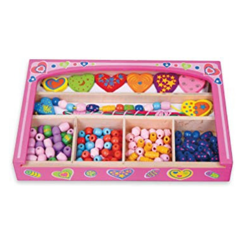Wooden Bead Set in Pink Box