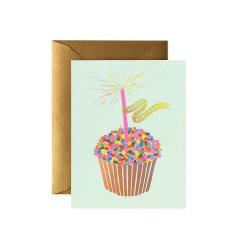 Rifle Paper Co Single Card Birthday Cupcake