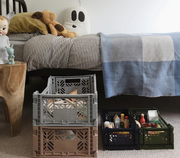 AY-KASA Mini Folding Storage Crate in Warm Taupe - The Corner Booth