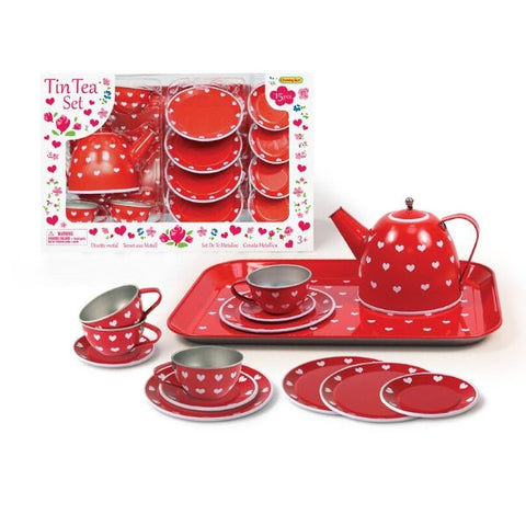 Tin Tea Set Red Heart