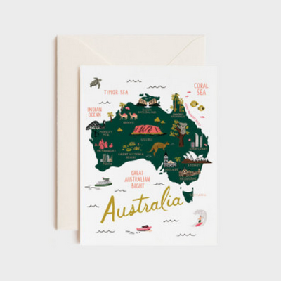 Rifle Paper Co  Single Card Map of Australia