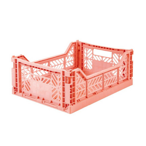 AY-KASA Midi Folding Storage Crate in Salmon Pink