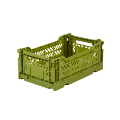 AY-KASA Mini Folding Storage Crate in Olive - The Corner Booth