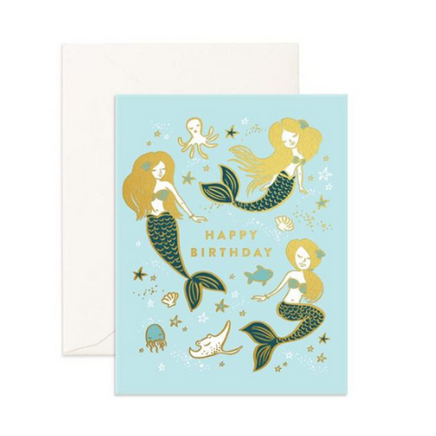 Happy Birthday Mermaids Greeting Card