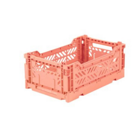 AY-KASA Mini Folding Storage Crate in Salmon Pink