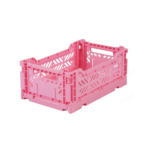 AY-KASA Mini Folding Storage Crate in Baby Pink