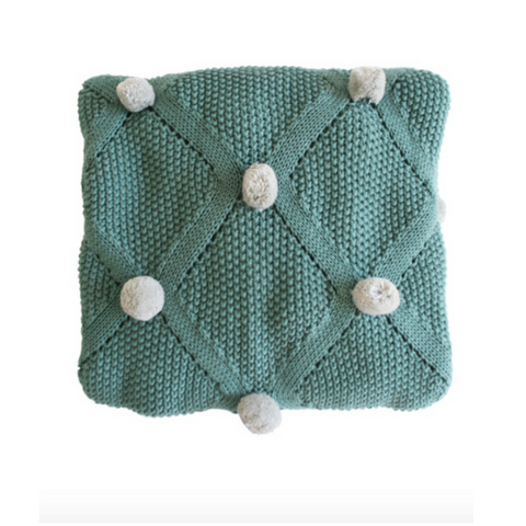 Alimrose Pom Pom Blanket Sage and Grey - The Corner Booth