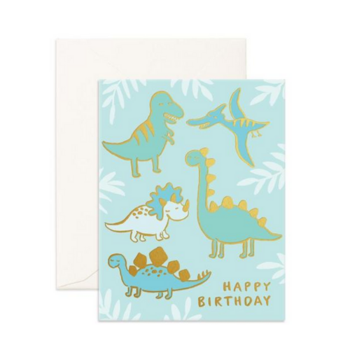 Birthday Dino's Foil Greeting Card - The Corner Booth