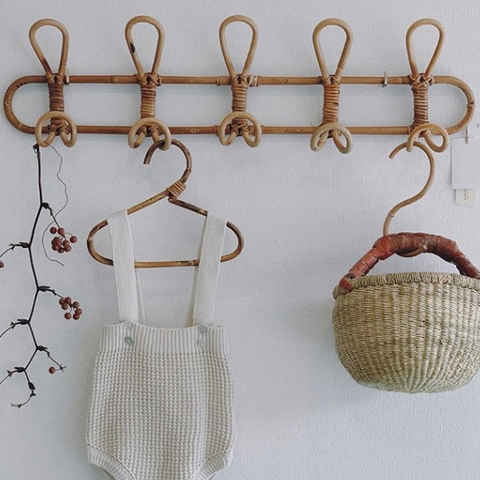 Rattan Clothes/Hat Hanging Rack