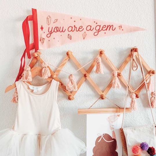 girls pennant, pink pennant, girls room decor, peach pennant, you are a gem