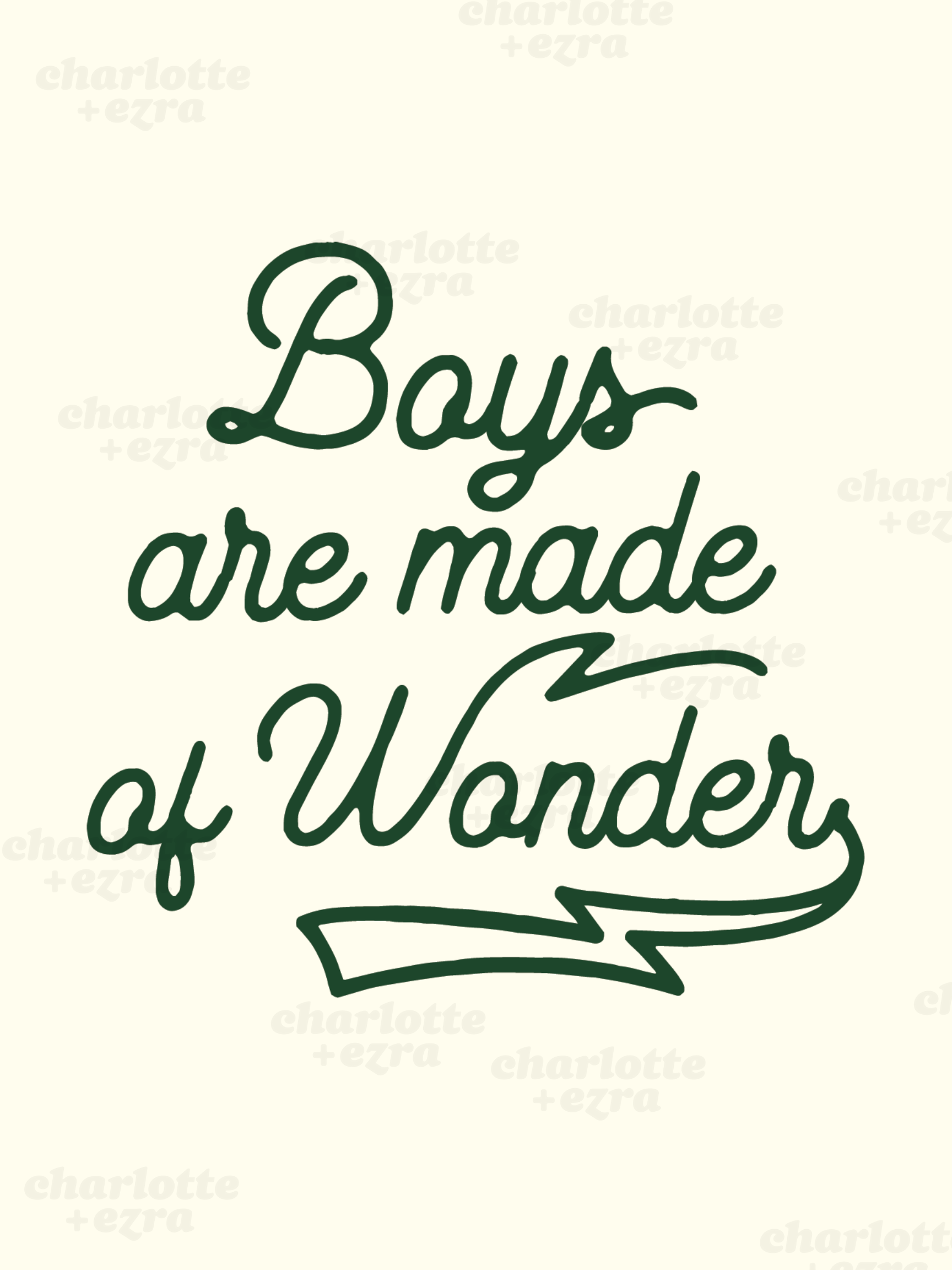 Boys are made of wonder digital download in Forest green