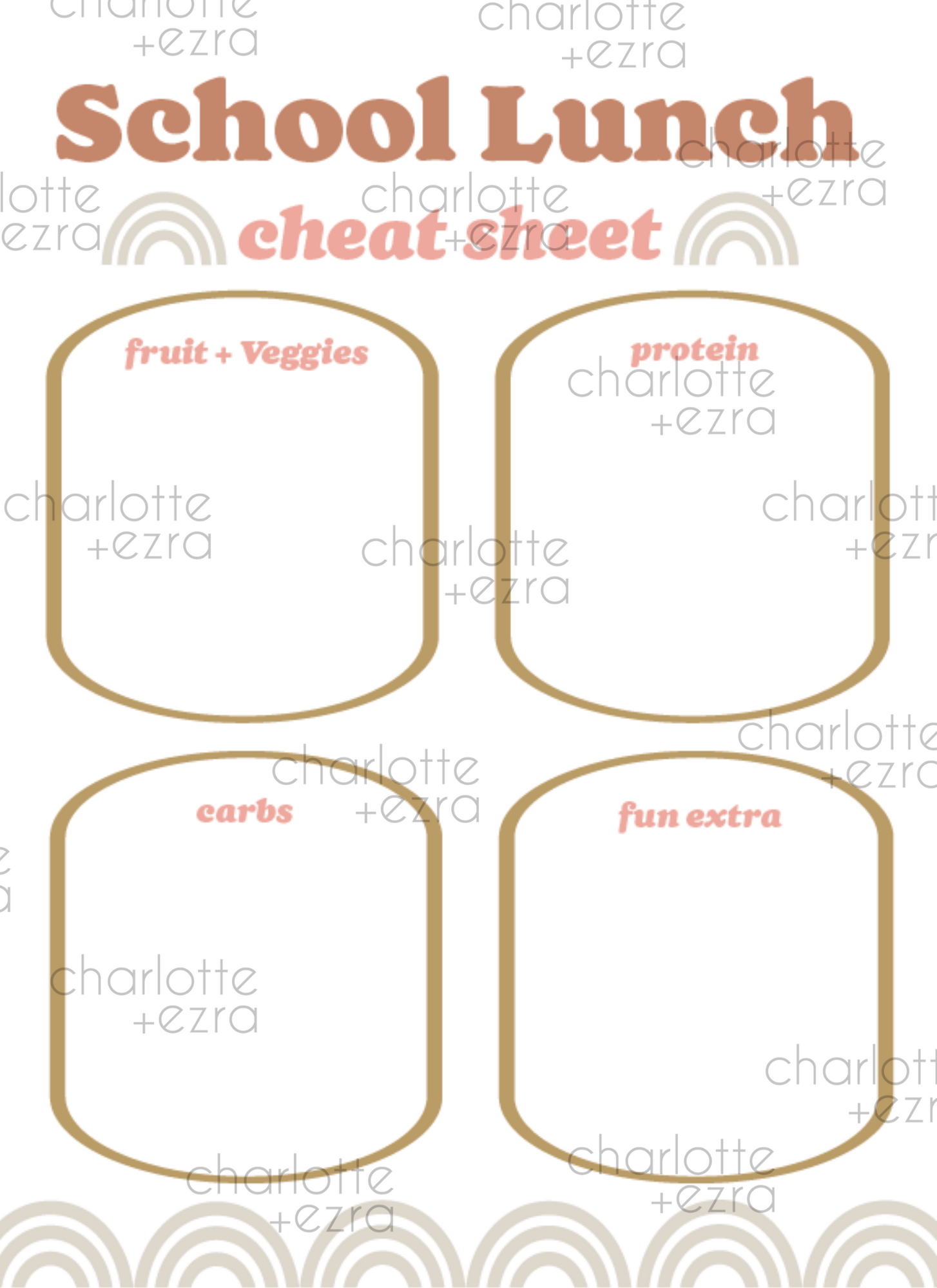 School Lunch Cheat Sheet