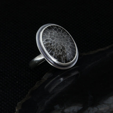 Black Fossil Coral Ring - Size 7