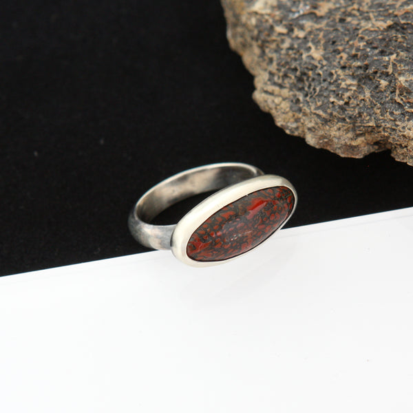 Taphonomy Ring - Fossilized Dinosaur Bone - Size 8