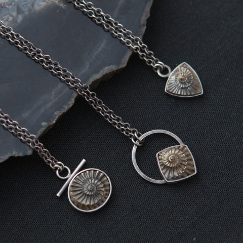 Pyritized Ammonite Negative Necklace - Sterling Silver and Genuine Fossil Necklace