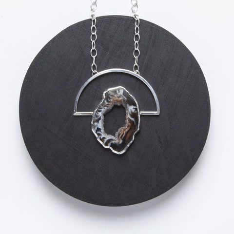 Arka Necklace - Sterling Silver and Natural Agate Druzy Pendant