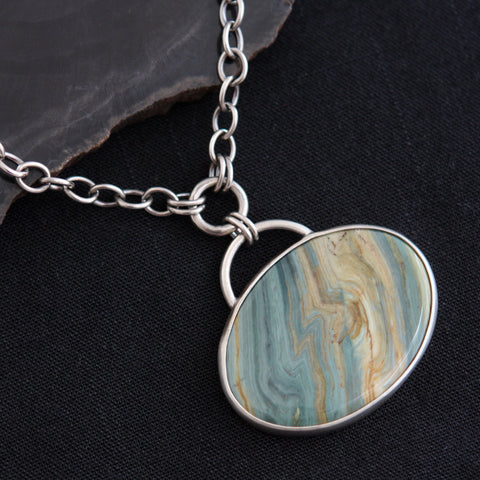 Against the Grain Necklace - Petrified Bog Wood and Sterling Silver