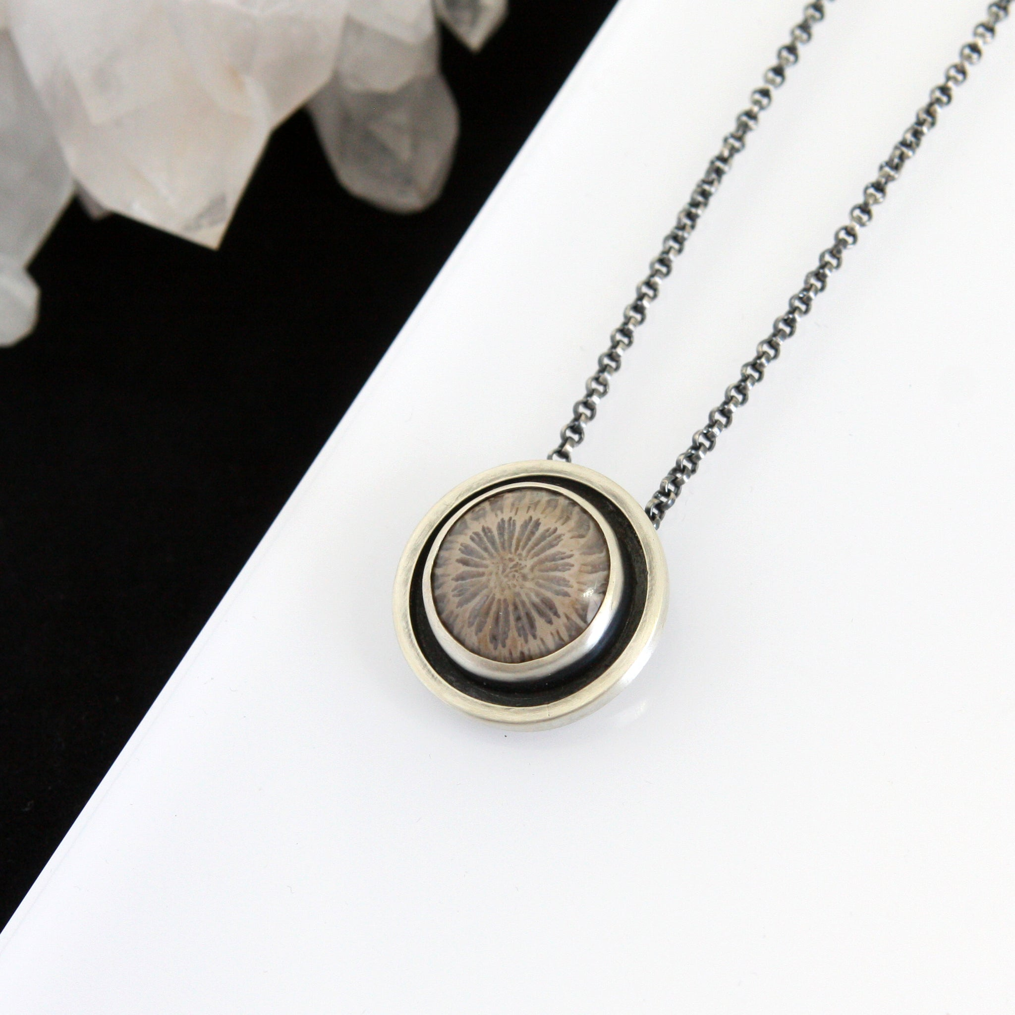 Fossil Coral Shadow Box Necklace